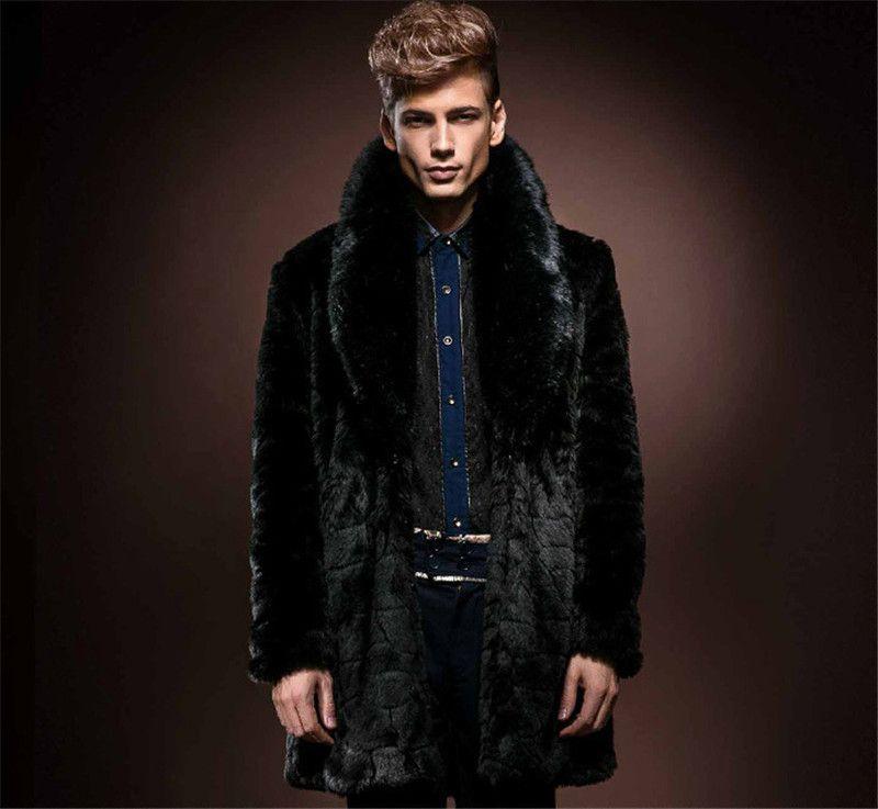 New Mens Long Sleeve Faux Fur Coat Lapel Neck Black Thick Warm ...
