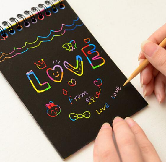Scratch Pad Rainbow Paper Notenook Black Page Wood Pen Kids Drawing Book Coloring Mini Spiral Notebook Notepads Korean Stationery