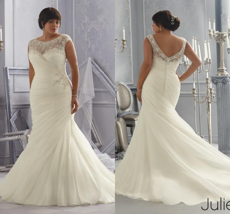 2015 plus size mermaid wedding dresses for full figure for Wedding dresses for larger figures