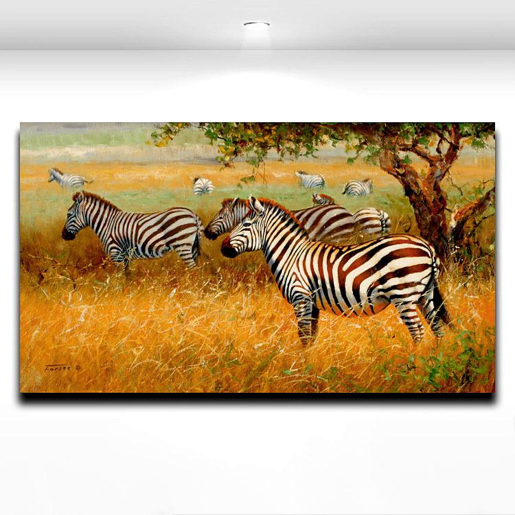 2017 african wild animal zebra painting printed on canvas for African mural painting