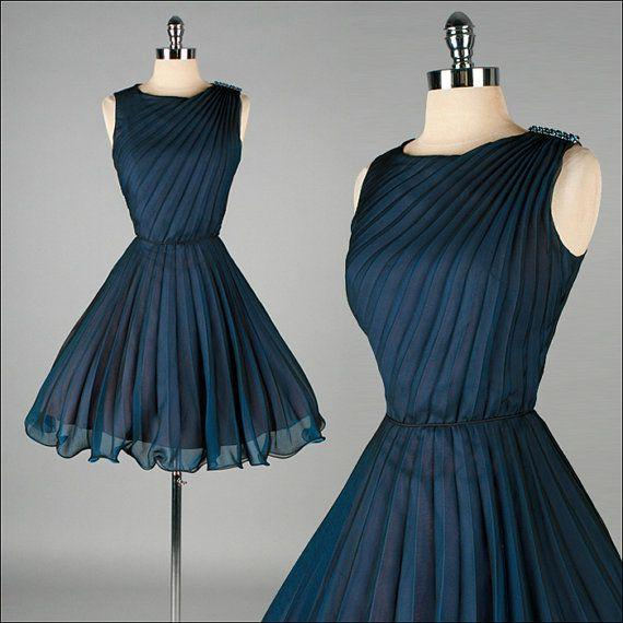 60s 1950s Navy Blue Vintage Homecoming Dresses No Sleeve Short ...