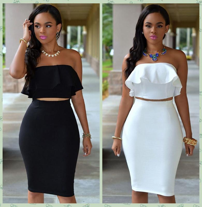 2016 Women Summer Dress Fashion Sexy Strapless Bandeau Ruffle Off ...
