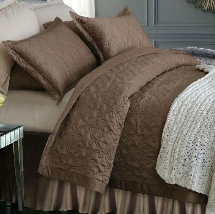 Wholesale Luxury Quilted Bedspread Satin Silk 100%cotton Brown ...