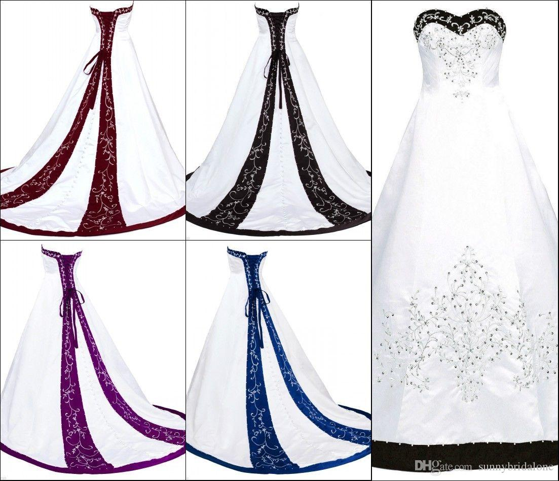 White Strapless Ball Gown Wedding Dresses With Embroidery