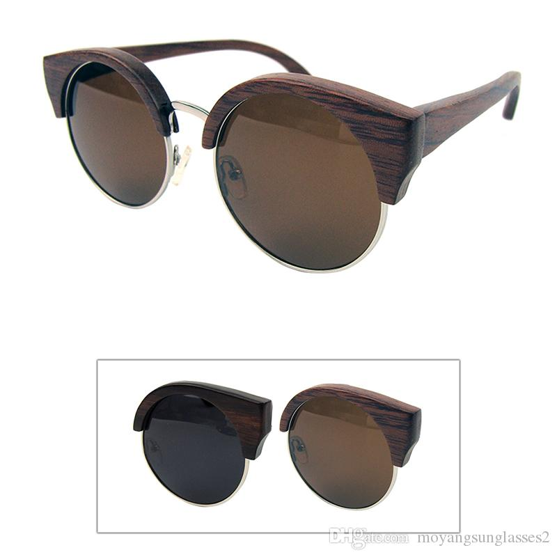 wood with half metal frames sunglasses round cat classic styles polarized lens real ebony and rose wood material r012eb wood frame sunglasses sunglasses