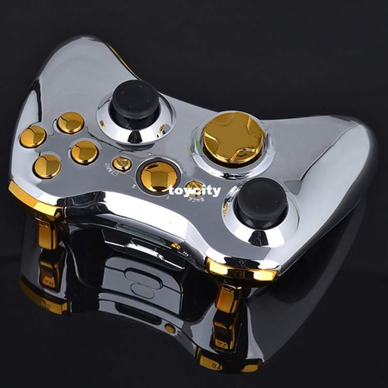 Chrome Silver Full Shell Gold Buttons For Xbox 360