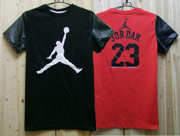 PU Leather Splice Patchwork Jordan T Shirt Hip Hop Mens T Shirts