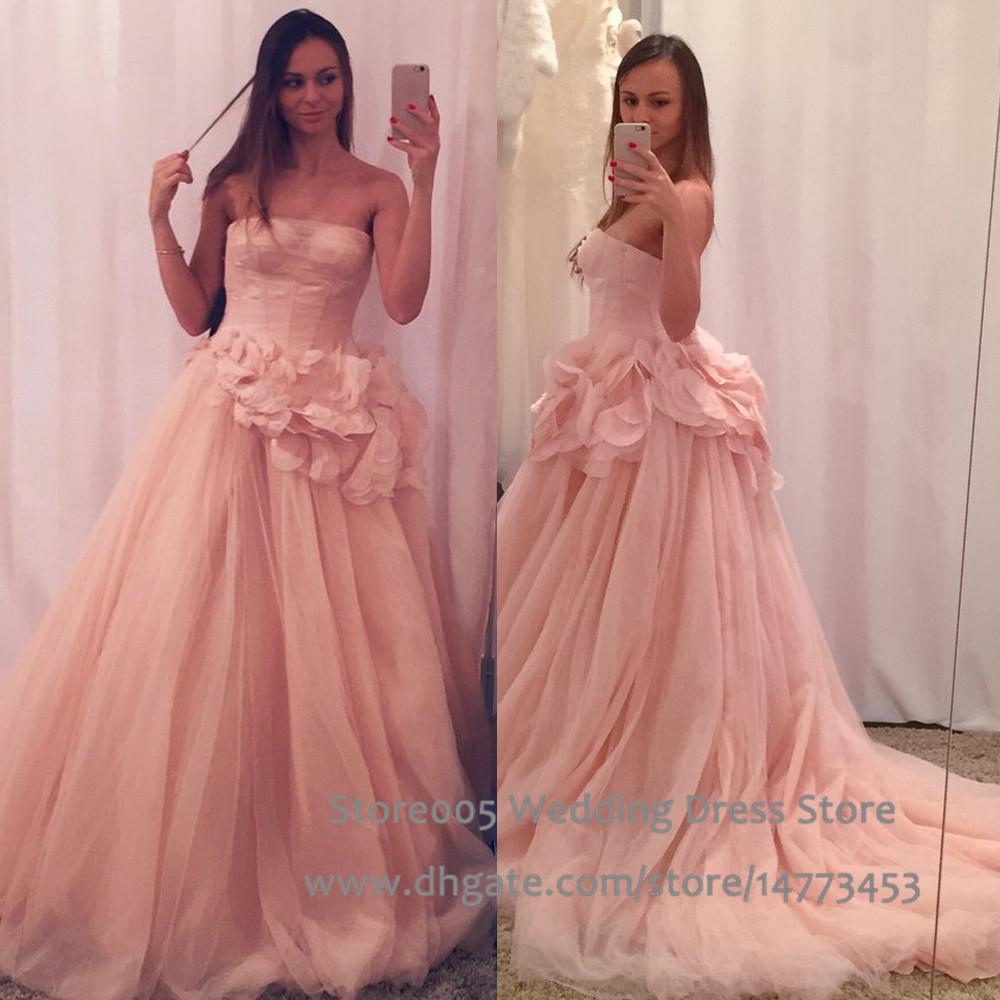 Strapless pink wedding dress tulle blush princess ball for Plus size pink wedding dresses