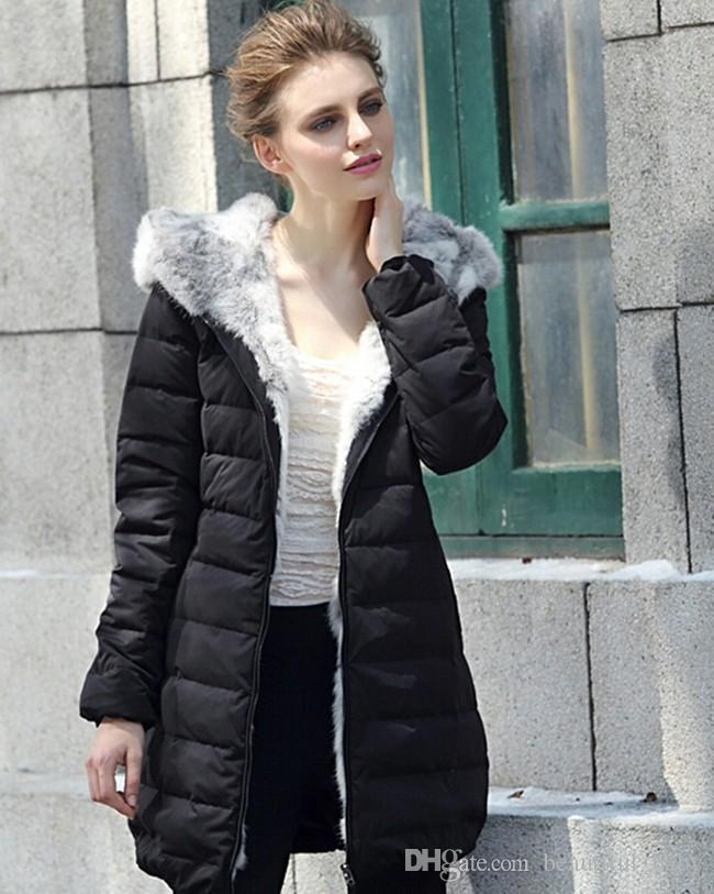 2017 Womens Down Coat Jacket With Rabbit Fur Hood 100% Natural Fur ...