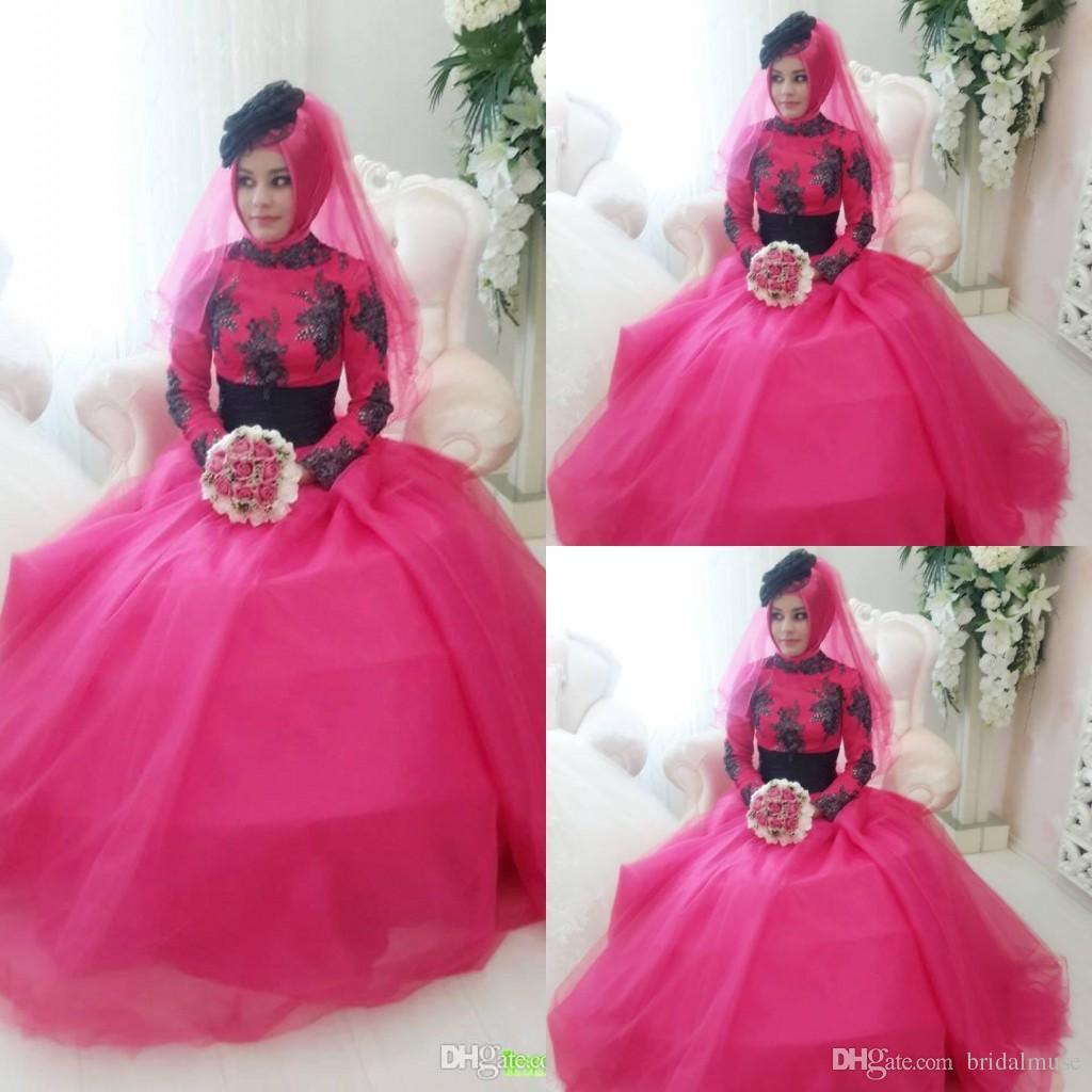 Discount 2015 Spring Wedding Dress Black And Fuschia A Line High Neck Lace Ca