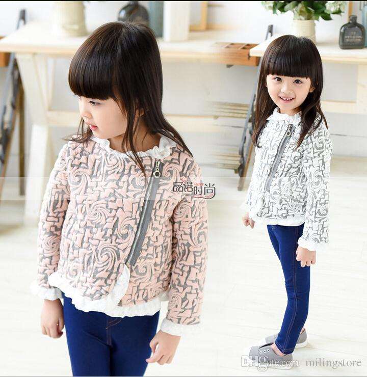 2015 2016 Kids Girls Print Floral Lace Jackets Baby Girl Autumn ...