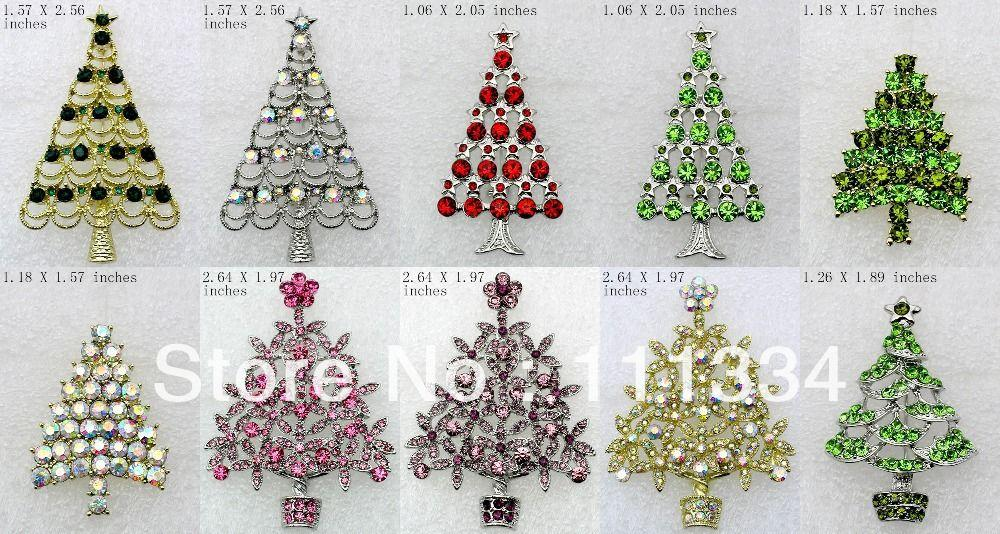 Best Mix Styles Wholesale Christmas Tree Brooches Pins B Under ...