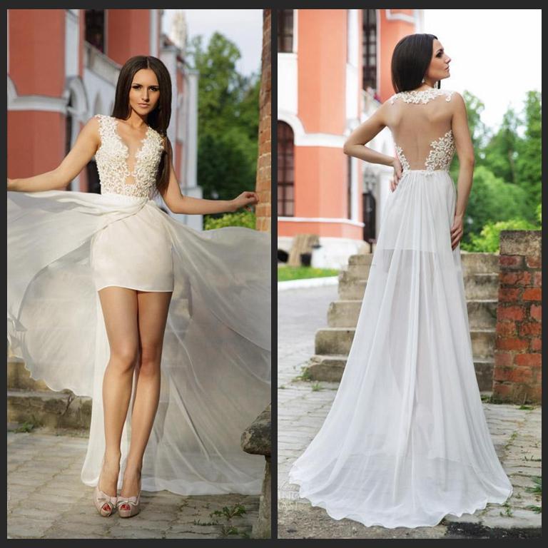 Short Wedding Dress with Long Skirt_Wedding Dresses_dressesss