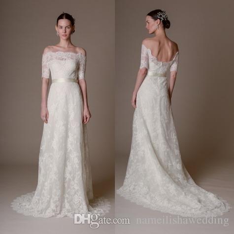 Vintage off shoulder lace wedding dresses 2015 marchesa for Vintage off the shoulder wedding dresses