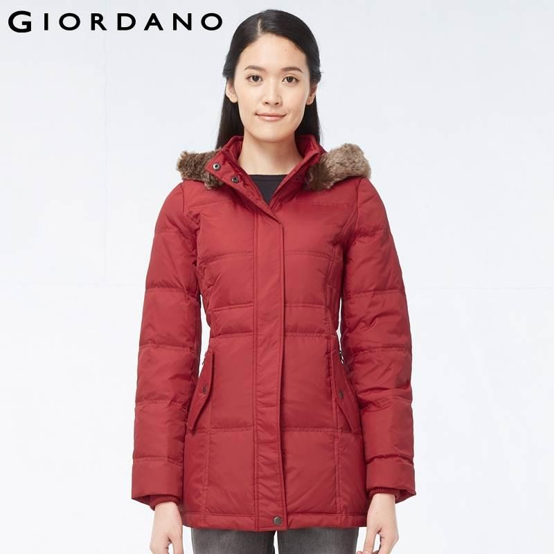 Giordano Women Slim Fit Down Jacket Hooded Woman Quality Coat ...