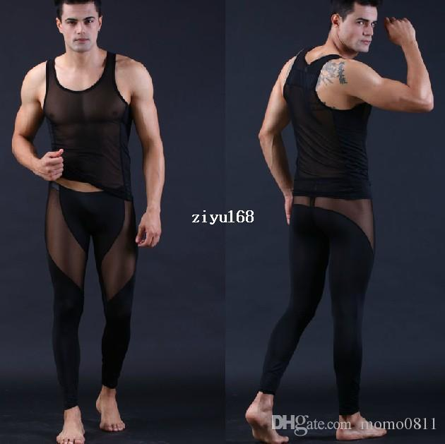 2017 Men Pajamas Hot Tight Black See Through Discount Mens ...