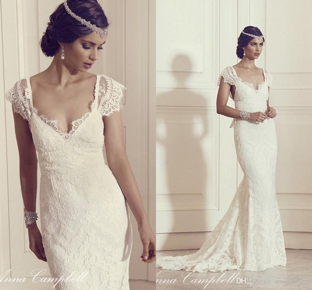 Vintage Lace Church Wedding Dresses Cap Sleeves Mermaid V