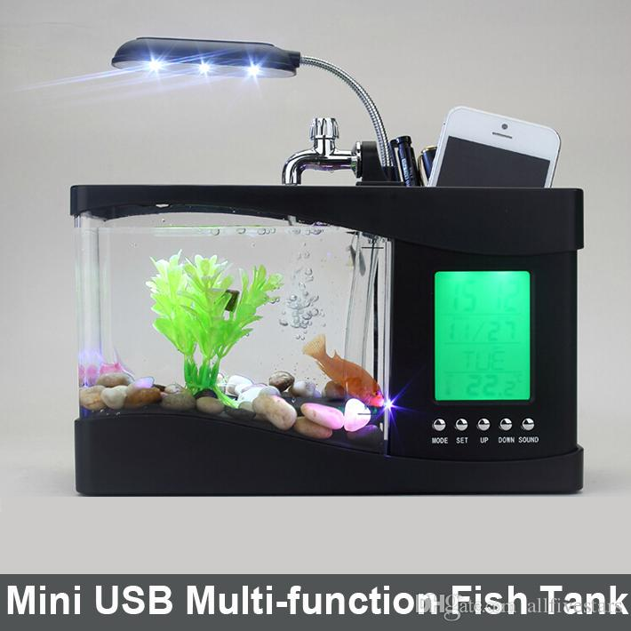 Father 39 s day gift usb desktop fish tank aquarium with led for Black light for fish tank