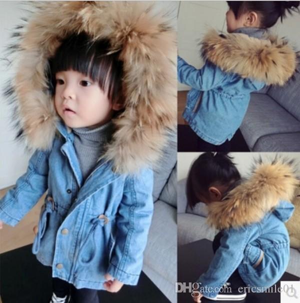 Baby Girls Winter Denim Wool Coats Children Fur Collar Pure Color