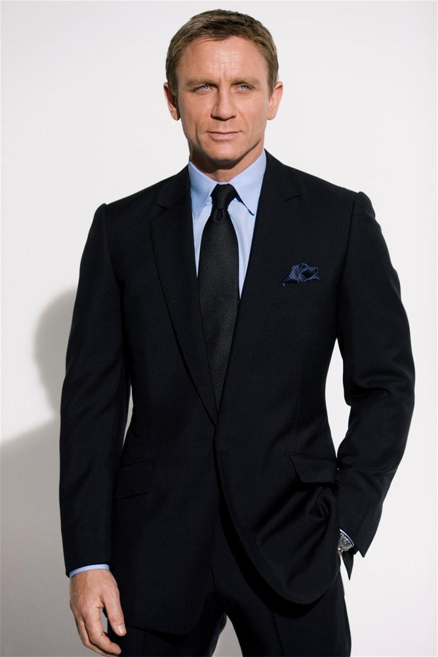 2015 Black Men'S Business Suit Dinner Jacket Custom Made Groom ...