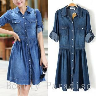 Women Blue Jeans Dress 2014 Fall Fashion Denim Dress Casual Dress ...