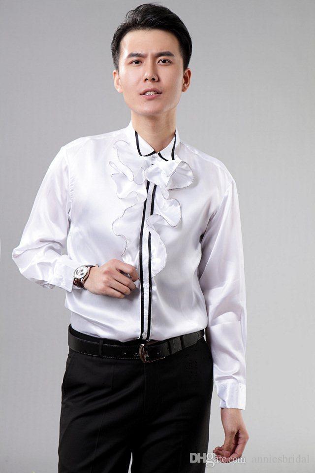 Ruffled Tuxedo T-shirt Prom Shirts With Ruffles