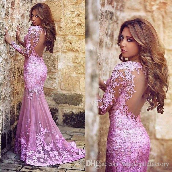 2016 Sexy Pink Lace Evening Dresses See Through Tulle Appliques ...