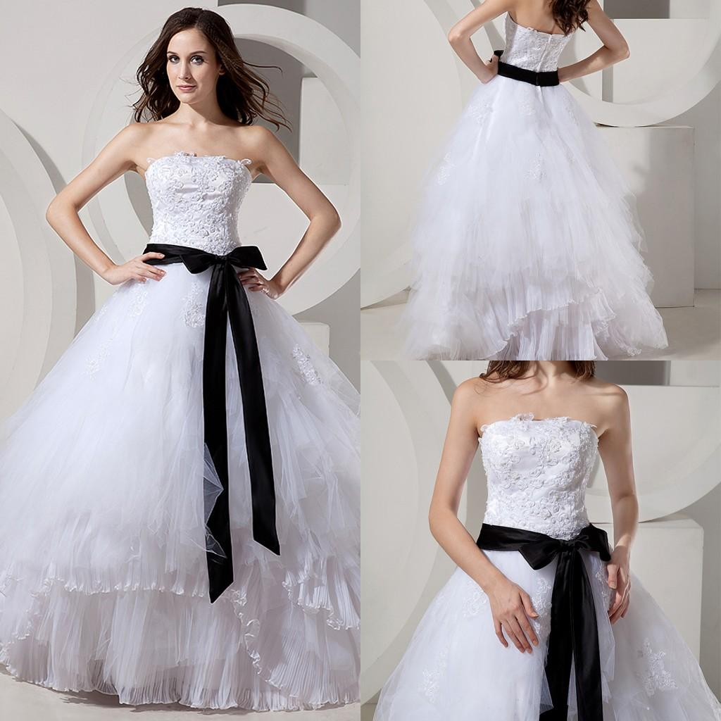2015 Real Designer Black And White Ball Gown