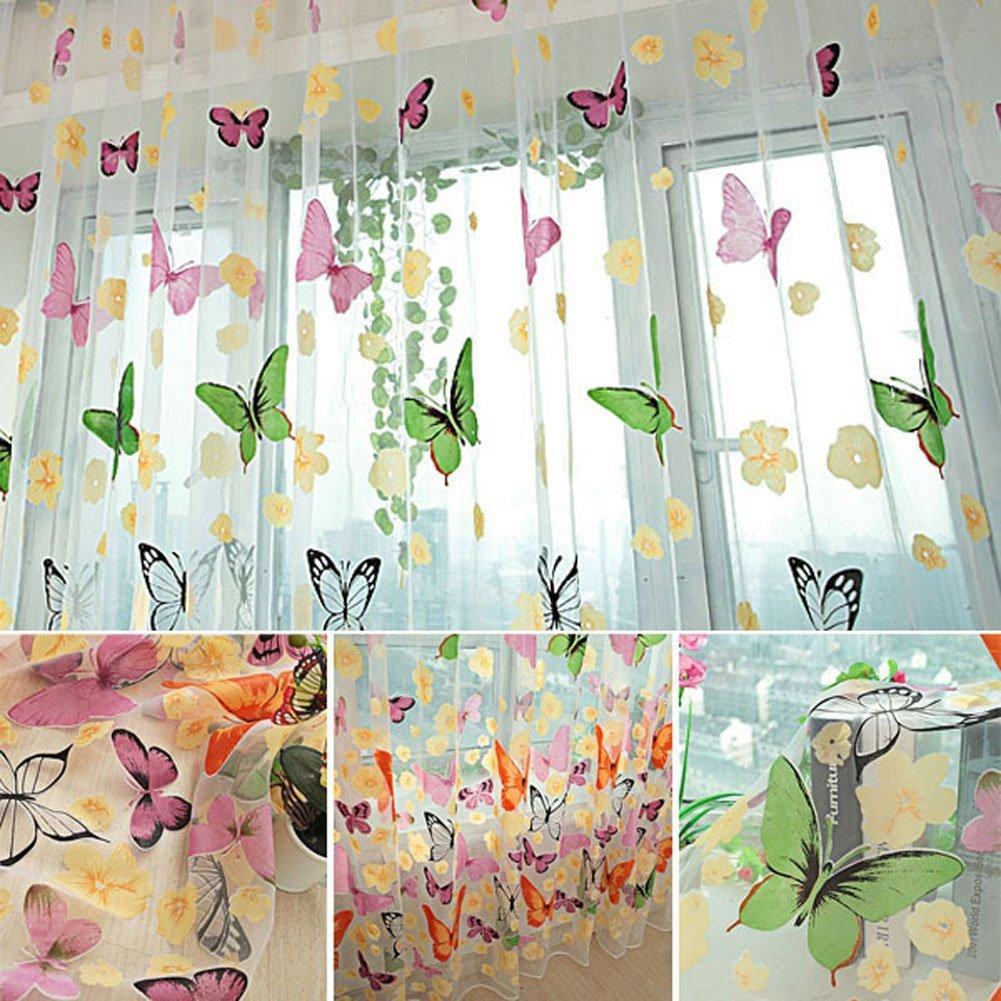 Home Use Sheer Curtain Butterfly Print Window Panel Curtains Room Divider Curtain For Living