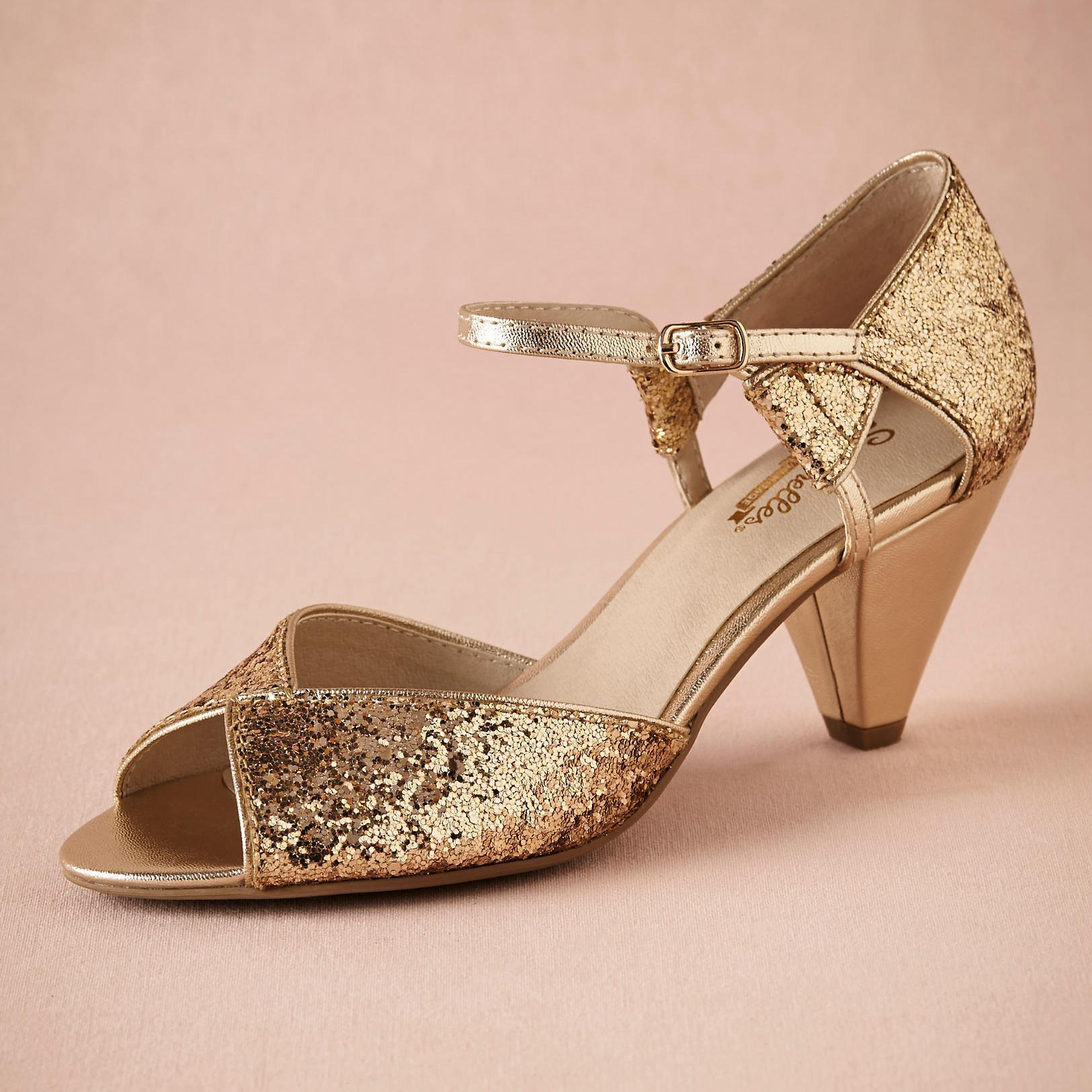 Gold Glitter Spark Wedding Shoe Handmade Pumps Leather Sole ...