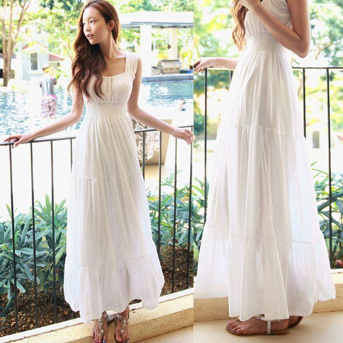 New 215 Summer White Women Beach Dress Ladies Chiffon Boho Beach ...