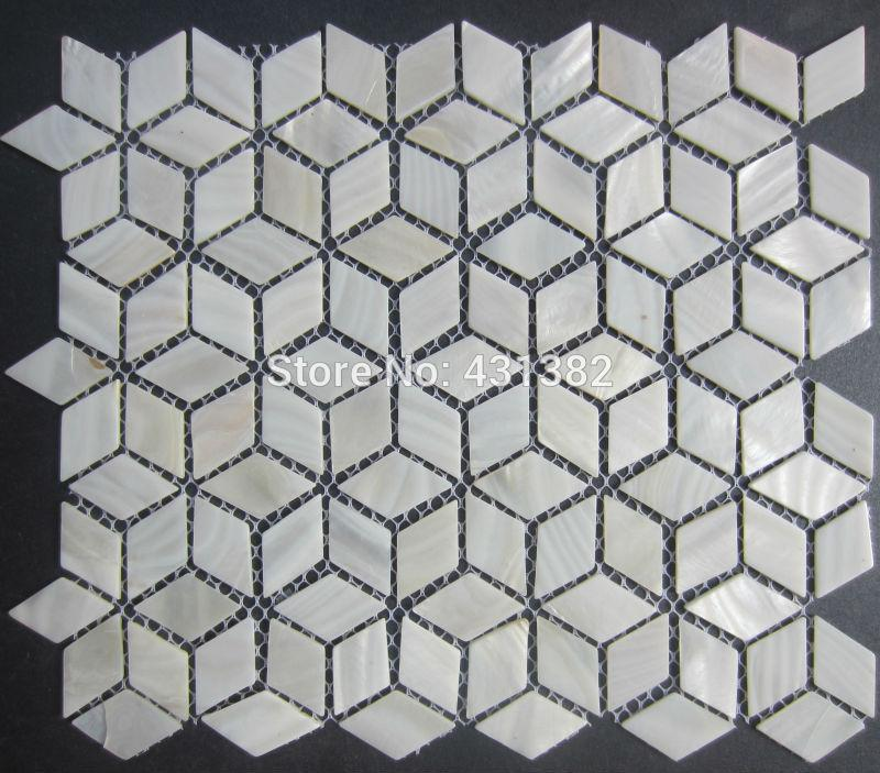 Rhombus Shell Mosaic Tiles 42 24 Naural Pure White Mother
