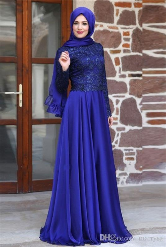 2016 Modest Prom Dresses Sleeves Blue Lace Chiffon A Line Muslim ...