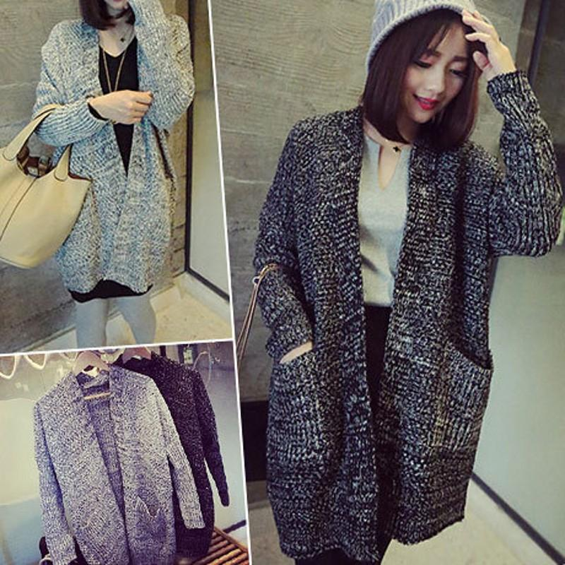 Womens Long Sweater Coat Photo Album - Reikian