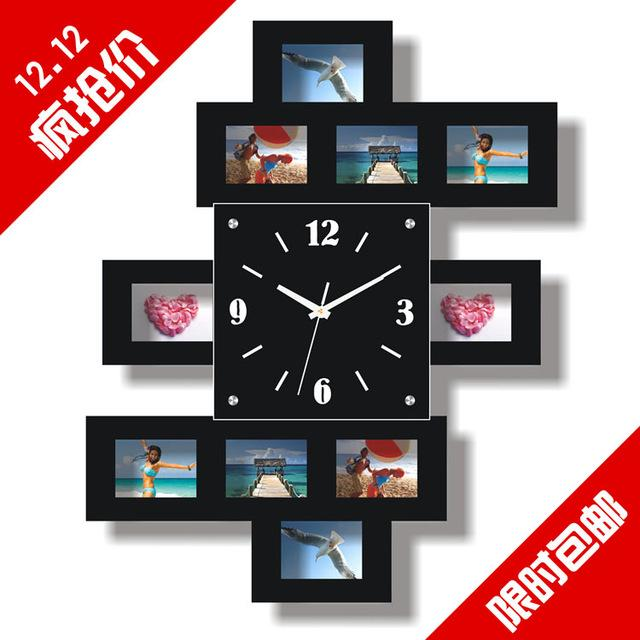new arrival wooden photo frame wall clock fashion clock modern fashion personality clock silent watch large free shipping