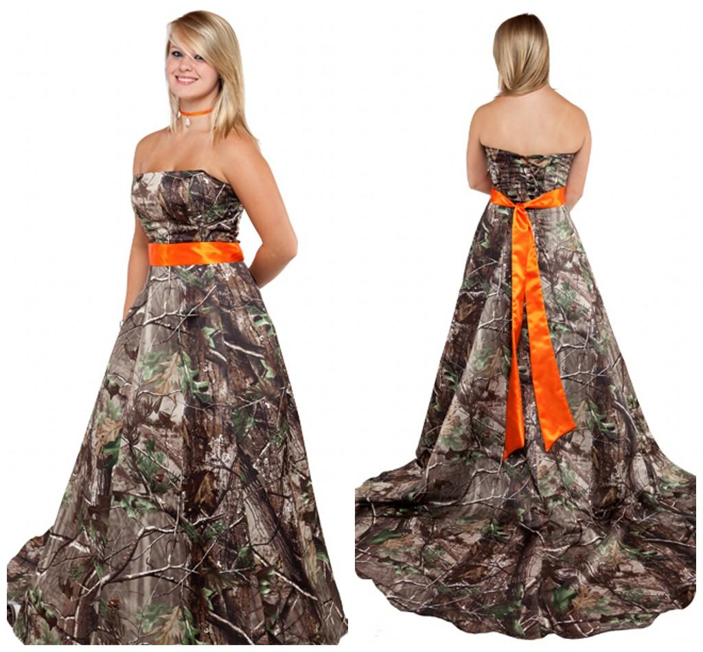 Realtree bridal gowns with orange sash strapless sweep for Pink and orange wedding dresses