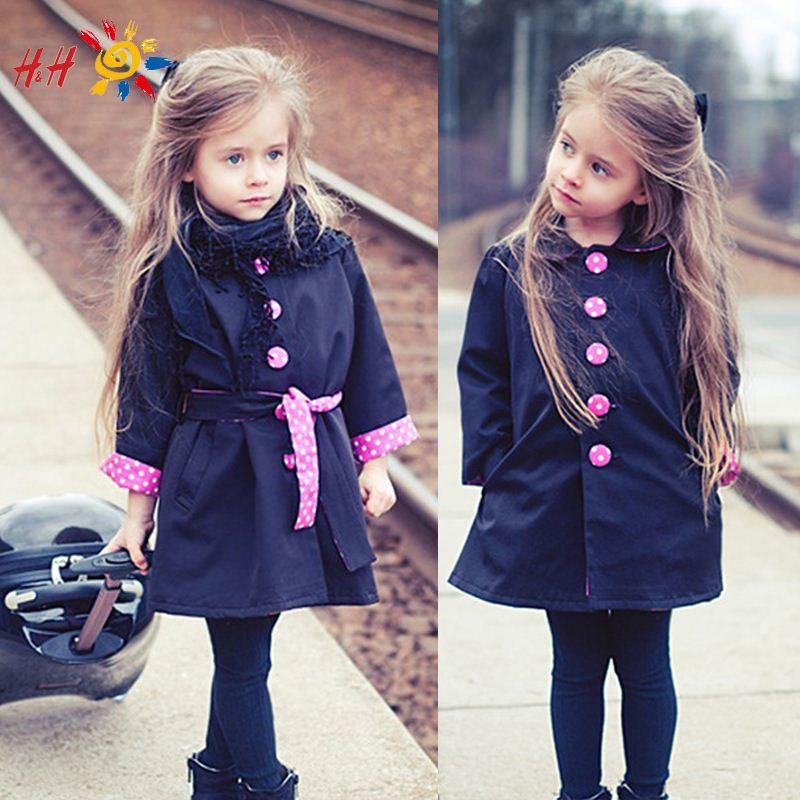 Autumn Winter New Kids Children Girl Fashion Cute Vogue Trench ...