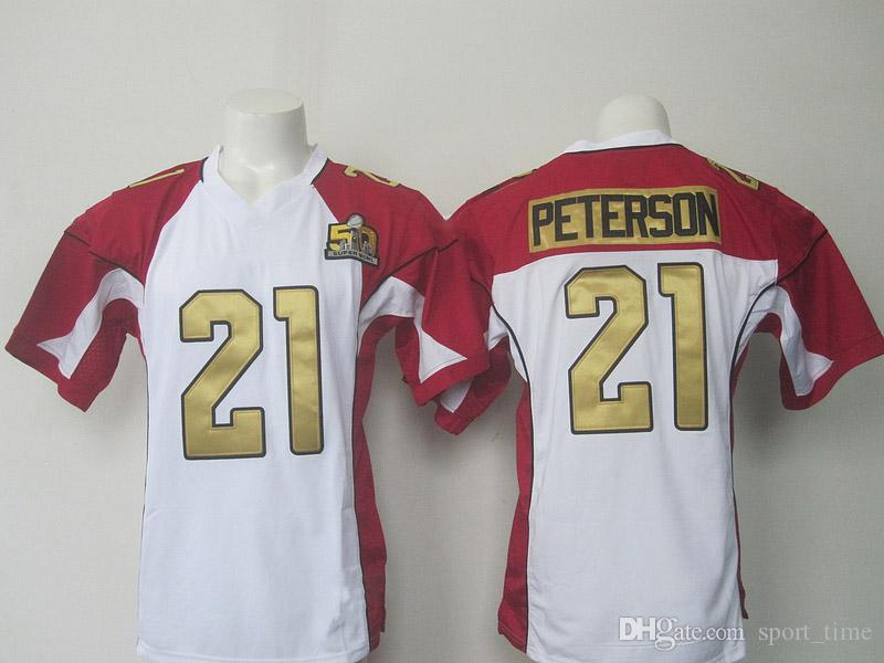 21 Peterson White 50th Jersey Super Bowl Sports Shirt American ...