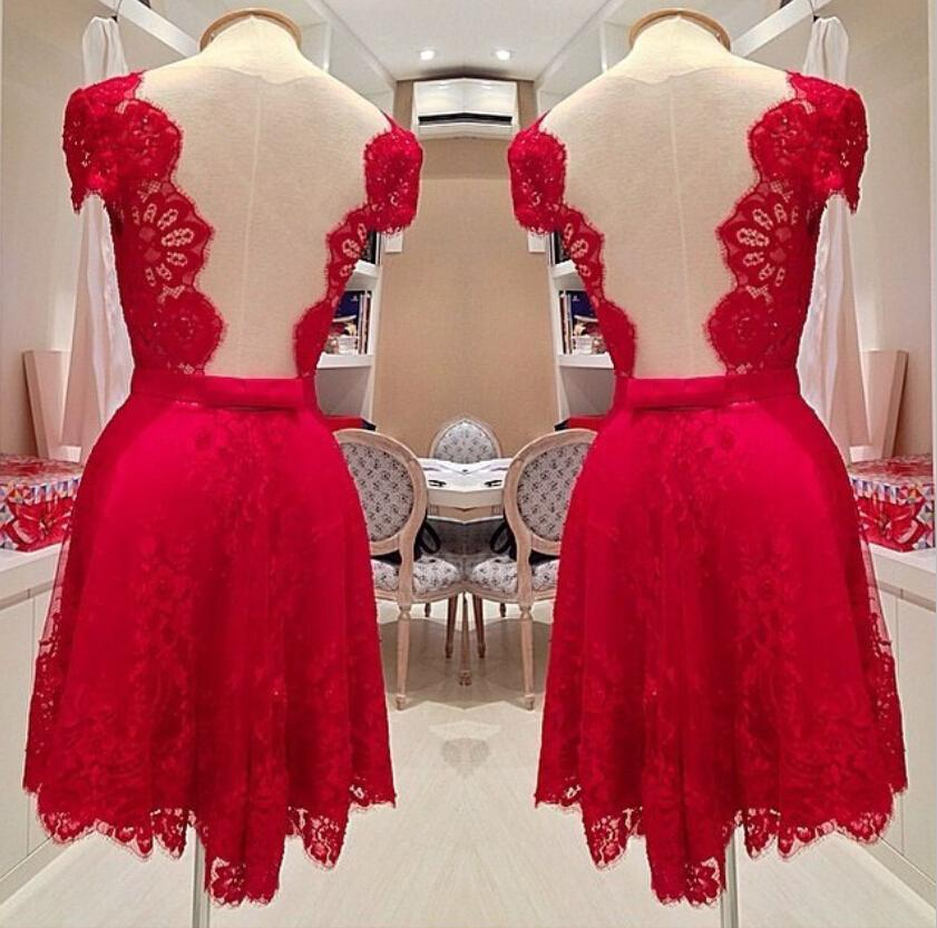 In Stock Luxury Short Red Prom Party Dress High Quality Knee ...
