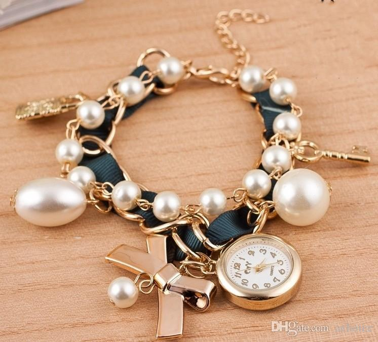 Bracelet Watch Ladies Lady Pearl Bracelet Ribbon