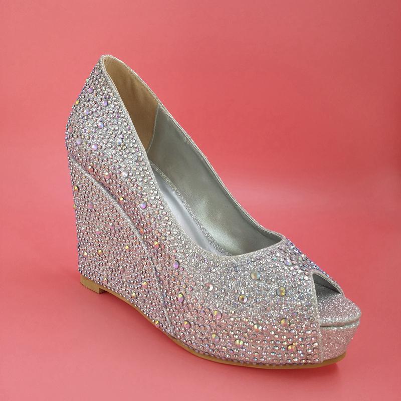 Silver Wedding Shoes Wedges Heel Rhinestone Open Toe 2015 Real Image Plus Size Bridal Shoes