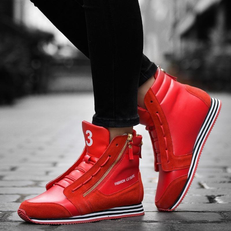 Hot Trendy High Top Mens Shoes Genuine Leather Fashion Men Casual ...