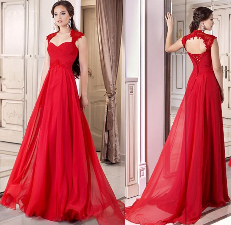 2016 Formal Red Evening Gown Corset Chiffon Full Length Lace Up A ...