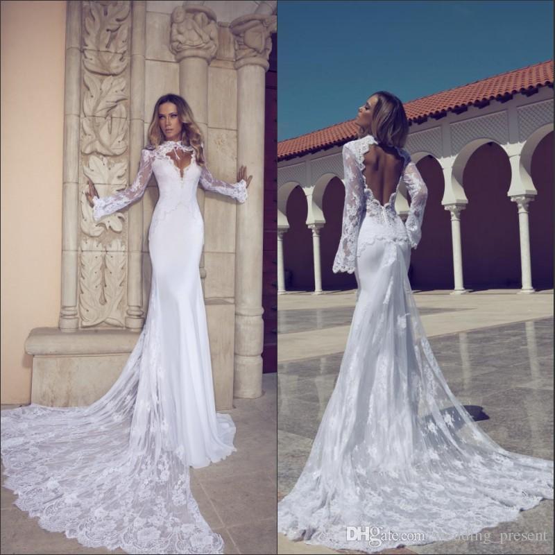 2016 Trendy Mermaid Sexy Wedding Dresses Long Sleeve High Neck ...