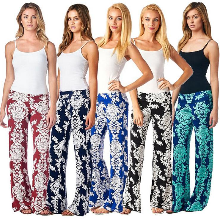 2016 European And American Womens Floral Print Wide Leg Palazzo ...