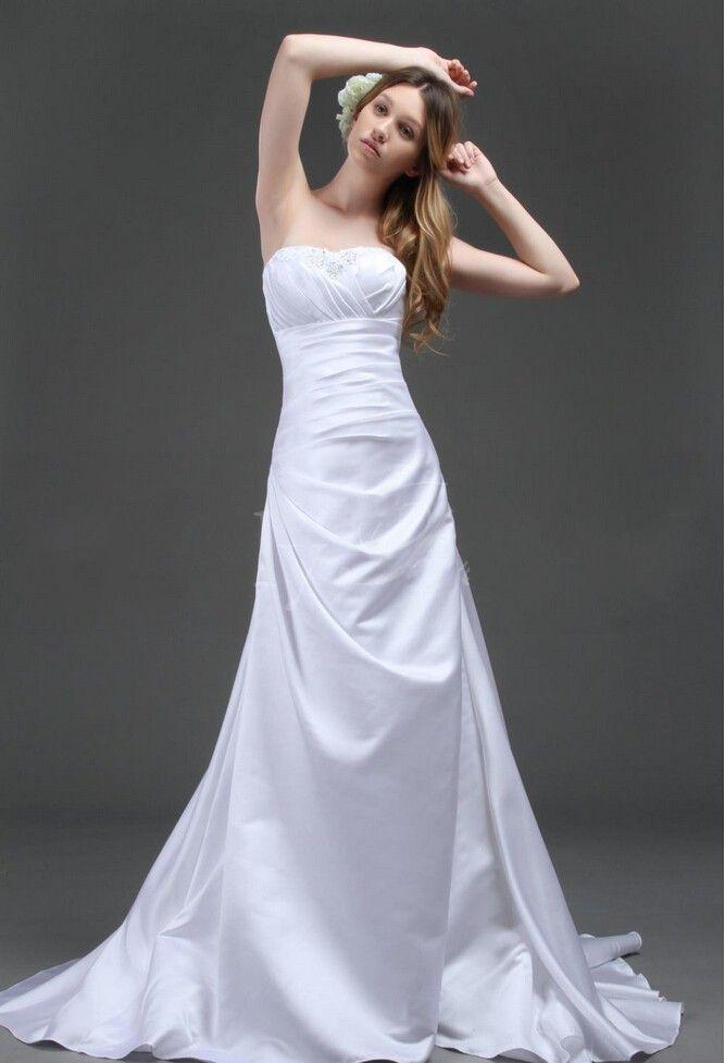 Discount custom made white wedding dresses satin bridal for High end designer wedding dresses