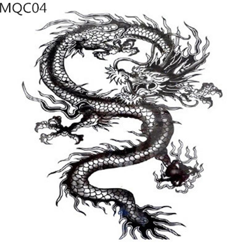 large size dragon tattoos for cool man animal totem waterproof body art tattoos wovle snake. Black Bedroom Furniture Sets. Home Design Ideas