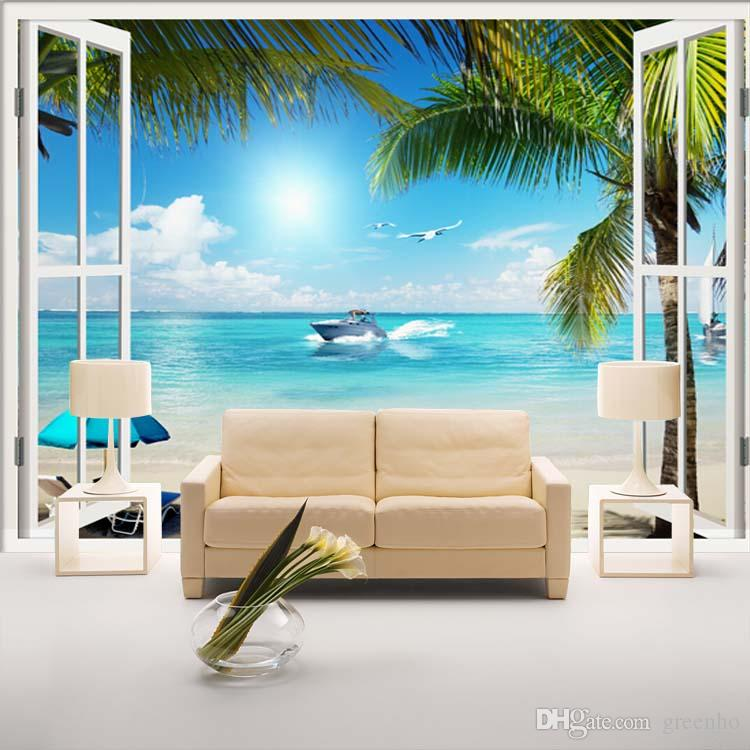 Window 3d beach seascape view wall stickers art mural for Beach mural wallpaper