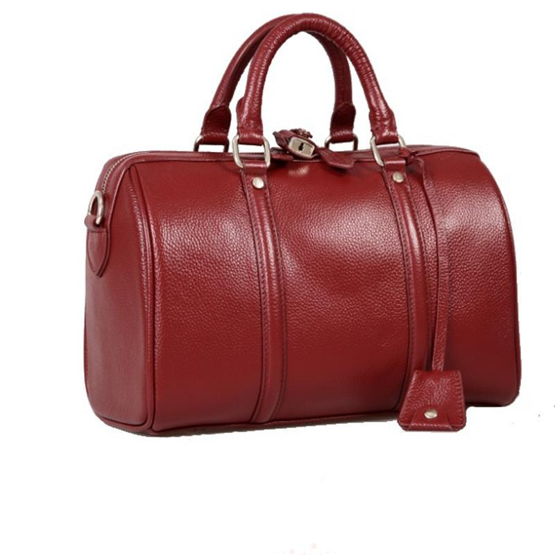 Baigio European Style Women'S Boston Bag Genuine Leather Travel ...