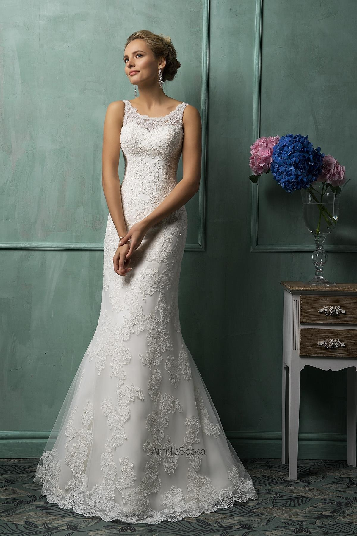 2015 wedding dresses mermaid amelia sposa gown scoop neck for Petite wedding dress designers